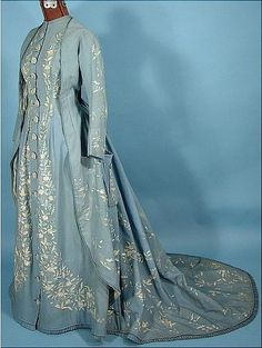 Trained Pale China Blue Wool Twill Morning Gown With Watteau Back And Two-Tone Embroidery  c.1870's