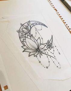 44 ideas for tattoo moon design lotus flowers - best tattoos . - 44 ideas for tattoo moon design lotus flowers – Best tattoos 44 ideas for t - Tattoo Mond, Lotusblume Tattoo, Shape Tattoo, Body Art Tattoos, New Tattoos, Luna Tattoo, Script Tattoos, Sanskrit Tattoo, Hamsa Tattoo