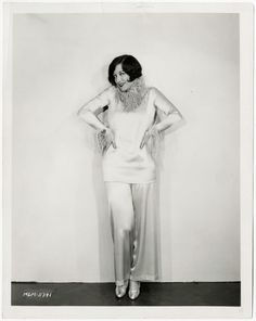 Very Early Joan Crawford '26 Jazz Age Feathered Satin Pajamas Fashion Photograph