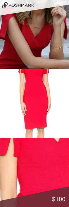 Black halo 😇 sheath dress in sour cherry 🍒 Red hot, conservative office wear. Too cute!! 👠 Black Halo Dresses Midi