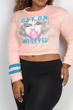 PLUS SIZE GET ON MY LEVEL GRAPHIC PRINTED CROP LONG SLEEVE TOP