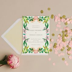 Floral wedding invitations from papier.com