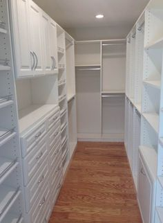 A beautiful all white walk-in by Tailored Living of West Orange County! Master Closet Design, Custom Closet Design, Walk In Closet Design, Master Bedroom Closet, Closet Designs, Closet Renovation, Closet Remodel, Closet Layout, Dream Closets