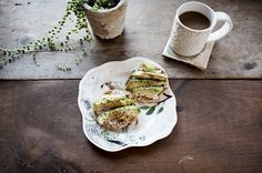 simply breakfast: whole wheat english muffin topped with plain yogurt, avocado, chili power, pepper, and maldon salt.
