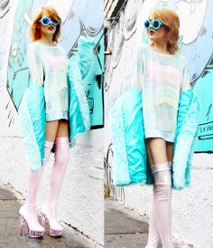 Wildfox Couture Circle Teal Sunnies, Wildfox Couture Rainbow Cake Sweatshirt, Nasty Gal Teal Fur Coat, I Hate Blonde Pink Magic Shoes