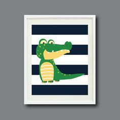 Alligator Nursery Art Print - 8x10 - Navy Blue and White Stripes with Green and Yellow - Kids, Childrens Room or Playroom - Modern -. $16.00, via Etsy.