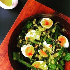 Super delicious soft boiled eggs with charred BBQ asparagus Caesar romaine and crispy prosciutto - recipe will be in my cookbook 😉 Delicious Vegan Recipes, Delicious Desserts, Vegetarian Recipes, Yummy Food, Healthy Recipes, Prosciutto Recipes, Canadian Food, My Cookbook, Ethnic Food