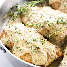 This quick & easy pan seared chicken breast recipe with mustard cream sauce takes just 15 minutes! It's the perfect healthy, flavorful weeknight dinner.