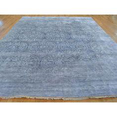 Handmade Mughal Broken Design Oriental Rug Rayon from Bamboo Silk (9' x 11'10)