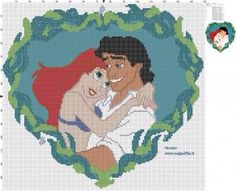 Ariel and Eric Disney cross stitich