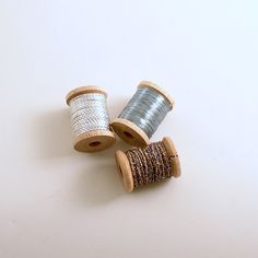 Vintage Metallic Thread Made in France French Thread Wood Spools by efinegifts on Etsy