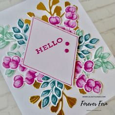 Forever Fern Hello Card   inspiration taken from Pinterest. Instead of going for all greens, I've   used Magenta Madness and Gold in the colour combination.