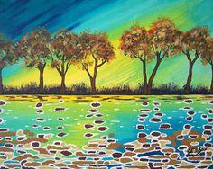 "Original Painting by Modern Folk Artist Julie Ellison   ""Golden Twilight""   8"" x 10"" x 3/4"""