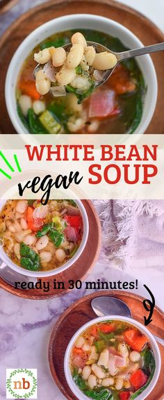 This cozy, hearty White Bean Soup with spinach is packed with flavor, healthy protein and fiber, and is vegetarian and vegan friendly! Use canned beans and you can have it ready in less than 30 minutes or try the crockpot version! White Bean Soup, White Beans, Vegan Soup, Vegan Vegetarian, Slow Cooker Recipes, Soup Recipes, Homemade Soup, Healthy Protein, Cheap Meals