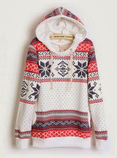 Hooded Geometric White Sweatshirts - this is so cute!
