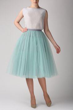 Grey mint tutu skirt, Handmade long skirt, Handmade tulle skirt, High quality skirt, Tea length petticoat, Tea length skirt by Fanfaronada on Etsy