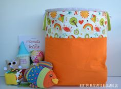 """Extra Large quilted fabric bucket, toys storage. """"School Days"""" by Riley Blake"""