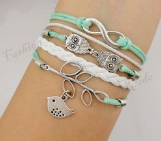 Infinity, Owls & Lucky Branch/Leaf and Lovely Bird Charm Bracelet in Silver - Mint Green Wax Cords and Leather Braid - Friendship Gift via Etsy