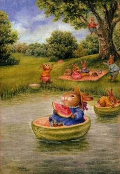 Susan Wheeler ✿ Boat ✿ Watermelon ✿ Rabbits ✿ Bunnies ✿ Lake ✿ Water ✿ Joy ✿ Outside ✿ Picknick ✿ Happiness :) ✿ Susan Wheeler, Bunny Art, Cute Bunny, Beatrix Potter, Art And Illustration, Lapin Art, Rabbit Art, Woodland Creatures, Whimsical Art