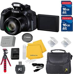 Canon Powershot Sx-60 Hs Digital Point And Shoot Cell Time Camera Bundle Including Original Battery+Original Charger + 2 16Gb High Speed Sd Memory Cards + Accessory Bundle - International Version