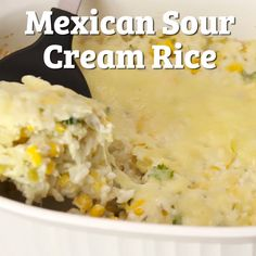 This tasty Mexican Sour Cream Rice side dish is the perfect alternative to traditional Mexican/Spanish rice. It's easy to make and a great side dish for Cinco de Mayo! It also makes for a great burrito filler too! Rice Side Dishes, Food Dishes, Side Dishes With Tacos, Comida Tex Mex, Mexican Sour Cream, Creamed Rice, Cooking Recipes, Cooking Tips, Cooking Beets