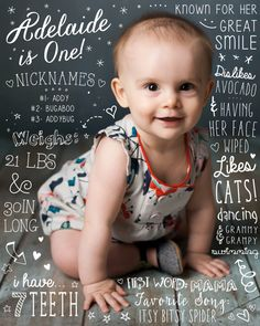 Baby's First Birthday Fun Fact Single Sided by PamplemoussePaperie