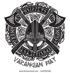 Viking helmet, crossed viking axes and in a wreath of Scandinavian pattern and Norse runes, vector illustration