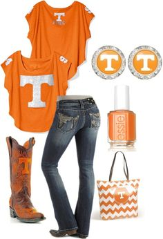 """Tennessee Volunteers Flirties"" except with a skirt Tennessee Volunteers Football, Tennessee Football, University Of Tn, Tn Vols, Tennessee Girls, What To Wear, Style Me, Cool Outfits, Clothes"
