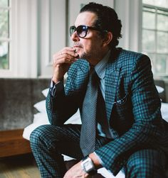 Ray Civello in Tom Ford suit, shirt, tie, pocket square, glasses, Cartier watch…