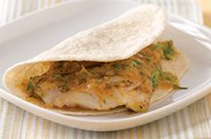 These Grilled Fish Tacos highlight the flavours of barbecued fish, citrus, jalapeño and cilantro. Fire up the barbecue and get grilling…Island-style! Healthy Taco Recipes, Fish Recipes, Seafood Recipes, Cooking Recipes, Salmon Recipes, Cooking Ideas, Healthy Cooking, Healthy Food, Dinner Recipes