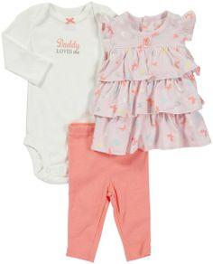 Amazon.com: Carter's Flutter By 3-piece Legging Bodysuit Set (NB-24M): Clothing