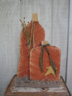 Country Primitive Wood Standing Pumpkin Duo Halloween Home Decor on Etsy, $12.00