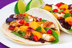 I do believe this is the prettiest food I've ever seen. Fish tacos with mandarin orange salsa from Gimme some oven