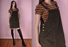 90s Olive Corduroy Jumper Dress/ Medium/ 1990s/ by JUNKKYARD