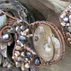 Tidal Pool Collar Necklace Ammonites Pearls Shells Unique Art Jewelry