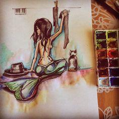 illustrazioni sketch barba cappelli watercolor blackink paint art sirena