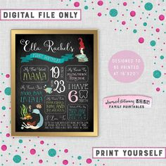 "First Birthday Chalk Sign ""Mermaids"" (Printable File Only) 16""x20"" Chalkboard Style Photo Prop Girl Under the Sea Fish Coral Shells Ocean"