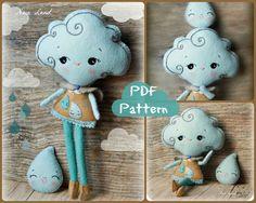 PDF. Cloud girl and rain drop brooch. Plush Doll Pattern, Softie Pattern, Soft felt Toy Pattern.