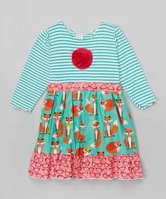 Look at this #zulilyfind! Aqua Foxes A-Line Dress - Infant, Toddler & Girls #zulilyfinds