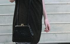 90s Classy Nana Chic Black Bag w/ Gold Clasp by SiouxsieGerms