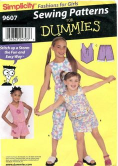 Simplicity 9607 Girls Sewing Patterns for Dummies ~ Tops Pants Shorts Skort