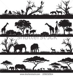 Four panels of african silhouettes with african wild animals in different habitats