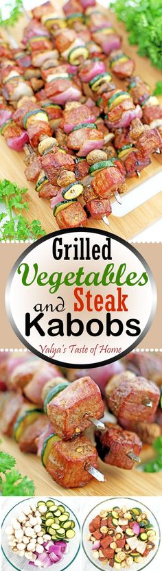 Grilled Vegetables and Steak Kabobs Recipe are a fun and fancy way of changing it up for dinner and eating more vegetables. When grilled on sticks with meat, vegetables take on a new appeal and eaten more readily by kids. And of course, adults just can't Kabob Recipes, Grilling Recipes, Beef Recipes, Cooking Recipes, Barbecue Recipes, Recipies, Yummy Recipes, Vegetarian Grilling, Grilling Ideas