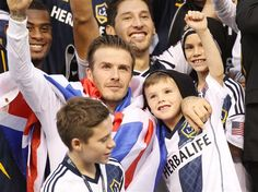 Aw! David Beckham celebrates his last game with the LA Galaxy with his sons Romeo, Cruz and Brooklyn. See more celebs on Wonderwall: http://on-msn.com/RzlhPV