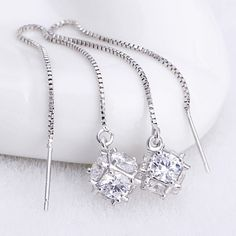 high quality popular jewelry Silver plated  Cubic Zirconia square cube sugar cube paragraph tassel earrings #Affiliate