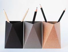 - set of 3 - Origami Paper Box, Desk Pen Holder, Pencil Cup stationery design inspiration Origami Design, King Kong, Office Desk Gifts, Pencil Cup Holder, Paint Brush Holders, Pot A Crayon, Diy Casa, Ideas Para Organizar, Grey Desk