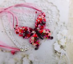 Butterfly necklace rainbow moth Pink necklace Butterfly pendant Burgundy necklace Butterfly jewelry Unusual jewelry Gifts for Her