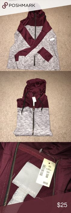 Burgundy & gray zip up NWT!! Really nice material with a hood and pockets. Jackets & Coats