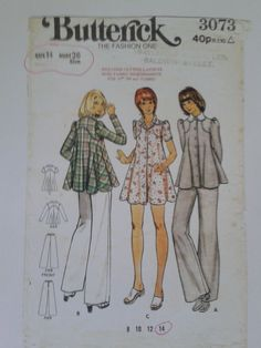 Butterick 3073 Vintage Patterns, Sewing Patterns, 1970s, Sewing Projects, Abs, Vogue, Fashion, Moda, Crunches