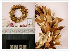 DIY holiday - styrofoam ball garland, spray painted magnolia wreath, glitter votives